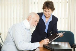 Disabled man with advisor